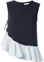 J.W.Anderson asymmetrical polka dot ruffle top - women - Acetate/Polyethylene - 10