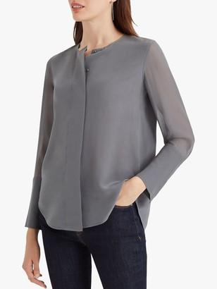 Club Monaco Wide Placket Silk Blouse, Grey Graphite