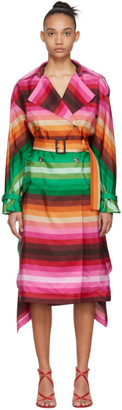 Valentino Multicolor Striped Silk Habotai Baiadera Coat