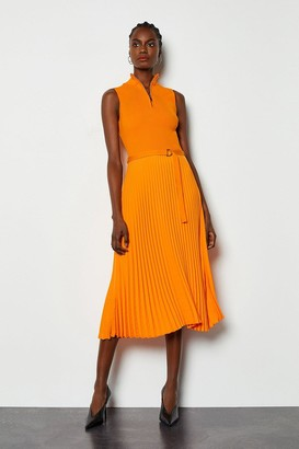 Zip Turtle Neck Pleated Skirt Dress