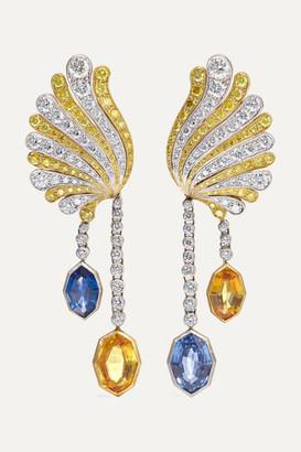 Buccellati 18-karat Yellow And White Gold, Diamond And Sapphire Earrings - one size