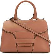 Giorgio Armani logo stamp tote - women - Cotton/Calf Leather/Leather - One Size