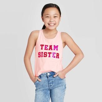 Cat & Jack Girls' Flip Sequin 'Team Sister' Tank Top - Cat & JackTM