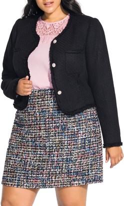 City Chic Ladylike Tweed Short Jacket