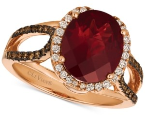 LeVian Le Vian Chocolatier Blue Topaz (4 ct. t.w.) & Diamond (3/8 ct. t.w.) Ring in 14k Rose Gold, (also in Rhodolite Garnet), Created for Macy's