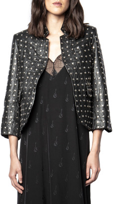 Zadig & Voltaire Studded Leather Open-Front Jacket