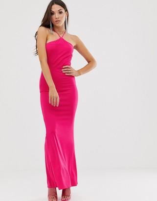 Asos Design DESIGN hot pink halter maxi dress