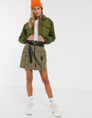 Pieces cargo skirt with buckle details in khaki