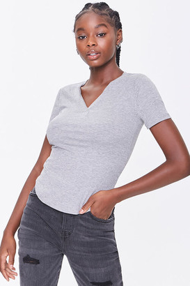 Forever 21 Ribbed Knit Curved Hem Tee