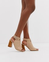 Asos Design DESIGN Hacienda leather peep toe boots