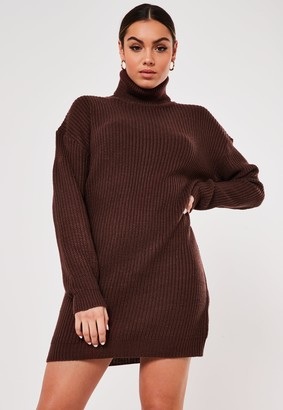 Missguided Brown Roll Neck Jumper Dress