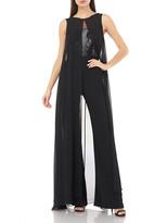 Carmen Marc Valvo Sequin-Bodice Sleeveless Jumpsuit w/ Chiffon Overlay