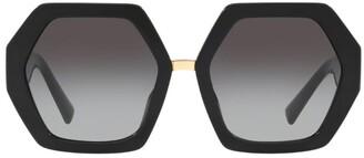 Valentino Rockstud Heptagon Sunglasses