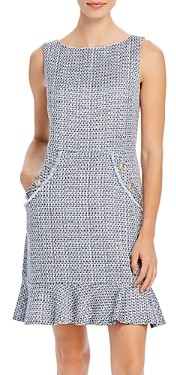 Karl Lagerfeld Paris Tweed Ruffle Hem Dress
