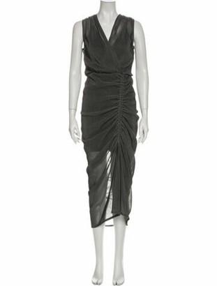 Acler V-Neck Midi Length Dress Grey