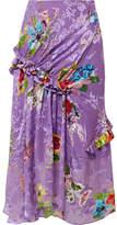 Preen by Thornton Bregazzi Elsa Ruffled Floral-print Fil Coupé Silk-blend Midi Skirt - Purple