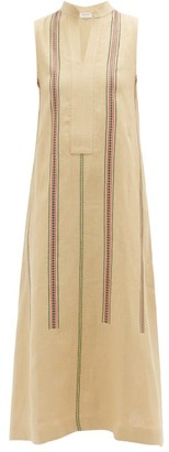 ZEUS + DIONE Leuki Sleeveless Striped Linen Midi Dress - Beige