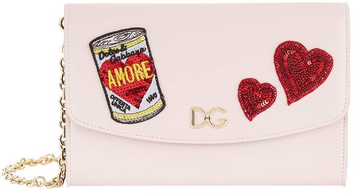 Dolce & Gabbana Appliqué Leather Wallet Bag