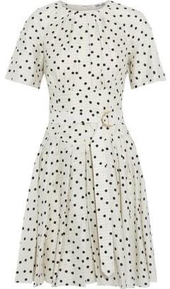 Diane von Furstenberg Ana Pleated Polka-dot Silk Crepe De Chine Dress