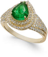 Macy's Emerald (2 ct. t.w.) & White Sapphire (3/4 ct. t.w.) Ring in 14k Gold