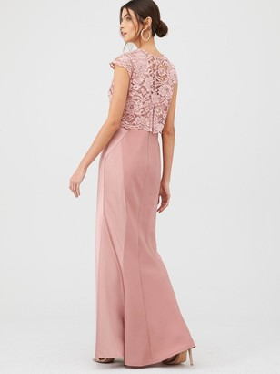Very Bridesmaid Lace Overlay Maxi Dress - Mauve