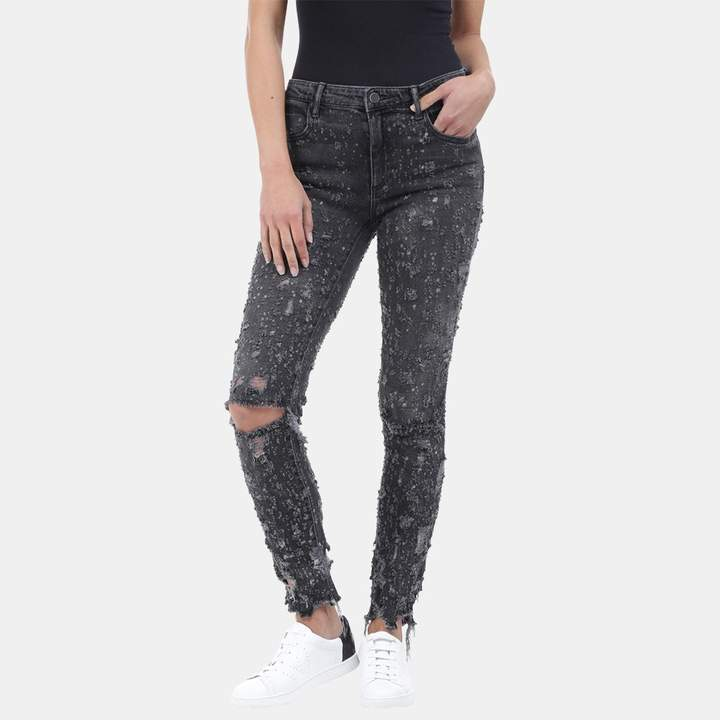 Alexander Wang Slim Destroyed Mid Rise Jean in Grey Fade