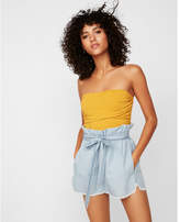 Express high waisted denim tie front utility shorts