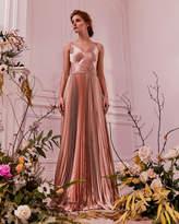 EFRONA Pleated satin maxi dress