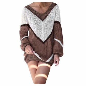 Whycat V Neck Jumper Dress Women Long Sleeve Jumper Dress Colour Block Sweatshirt Dress Puff Sleeve Sweater Dress