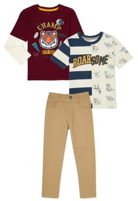 365 Kids From Garanimals Boys Long Sleeve & Short Sleeve Graphic T-Shirts & Woven Pants, 3-Piece Outfit Set, Sizes 4-10
