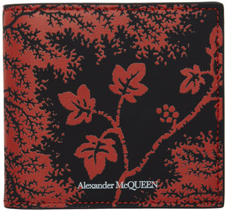 Alexander McQueen Black and Red Ivy Print Wallet