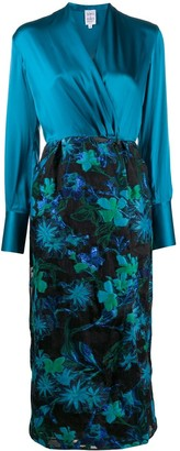 Sara Roka Jacquard Pattern Wrap Dress