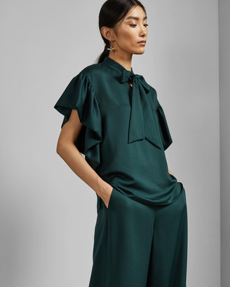 Ted Baker ROBYNN Tie neck frilled sleeve top