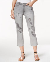 Calvin Klein Jeans Ripped Grey Fog Wash Cropped Jeans