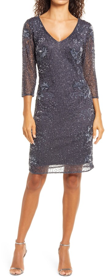 Pisarro Nights Beaded V-neck Cocktail Dress