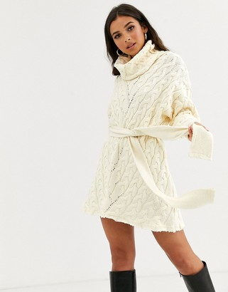 Free People For The Love Of Cables rollneck jumper dress-White