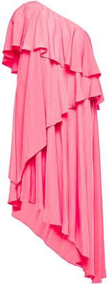 Lanvin One-shoulder Tiered Cady Dress