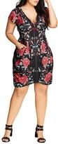 City Chic Floral Print Tunic Dress