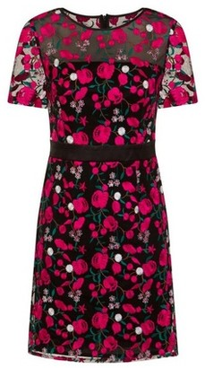 Dorothy Perkins Womens Girls On Film Pink Embroidered Shift Dress, Pink