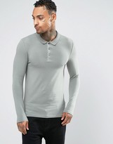 Asos Extreme Muscle Long Sleeve Polo In Green