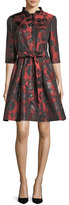 Carolina Herrera Belted Floral Jacquard Shirtdress