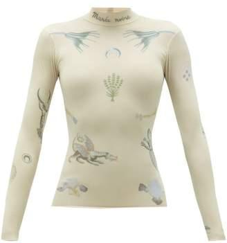 Marine Serre High-neck Tattoo-print Jersey Top - Womens - Tan