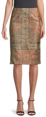 Kobi Halperin Faux Suede Print Pencil Skirt