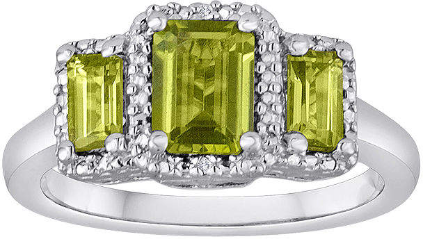 JCPenney FINE JEWELRY Genuine Peridot and Diamond-Accent Sterling Silver 3-Stone Ring