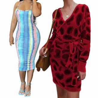 Sonline 1 Pcs Tie Dye Striped Print Halter Neck Open Back Dress & 1 Pcs Sexy Knitted V Neck Long Sleeve Dress Red S