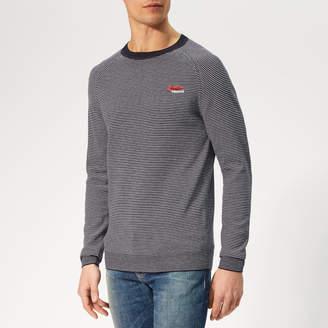 Superdry Men's Orange Label Crew Knit - Marina Feeder - XL - Blue