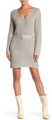FAVLUX Deep V Belted Sweater Dress