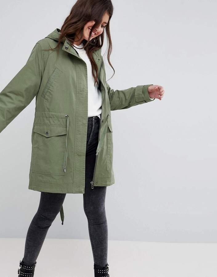 Asos Design Summer Parka With Jersey Lining
