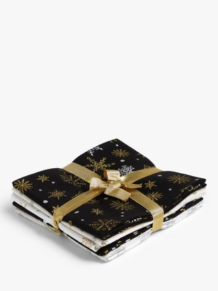 Oddies Textiles Festive Print Fat Quarter Fabrics, Pack of 5, Black/Gold