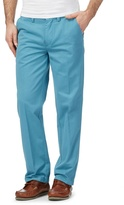 Maine New England Big And Tall Aqua Blue Tailored Fit Chino's